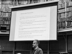 Image of Oliver Escobar presenting at the Firestarter event