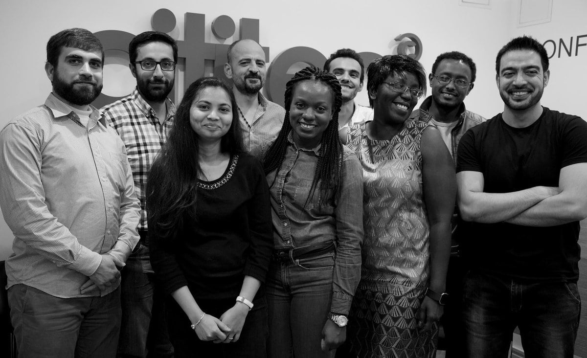 The first cohort of CodeYourFuture's programming course for refugees and asylum seekers. Photo by Alice Rowesome.