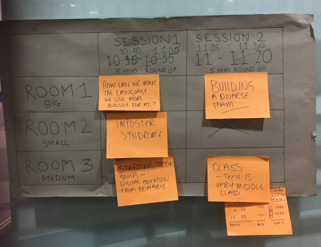 timetbale of crowdsourced topics for the unconference including imposter syndrome, class, starting them young, creating a diverse team and using simple language