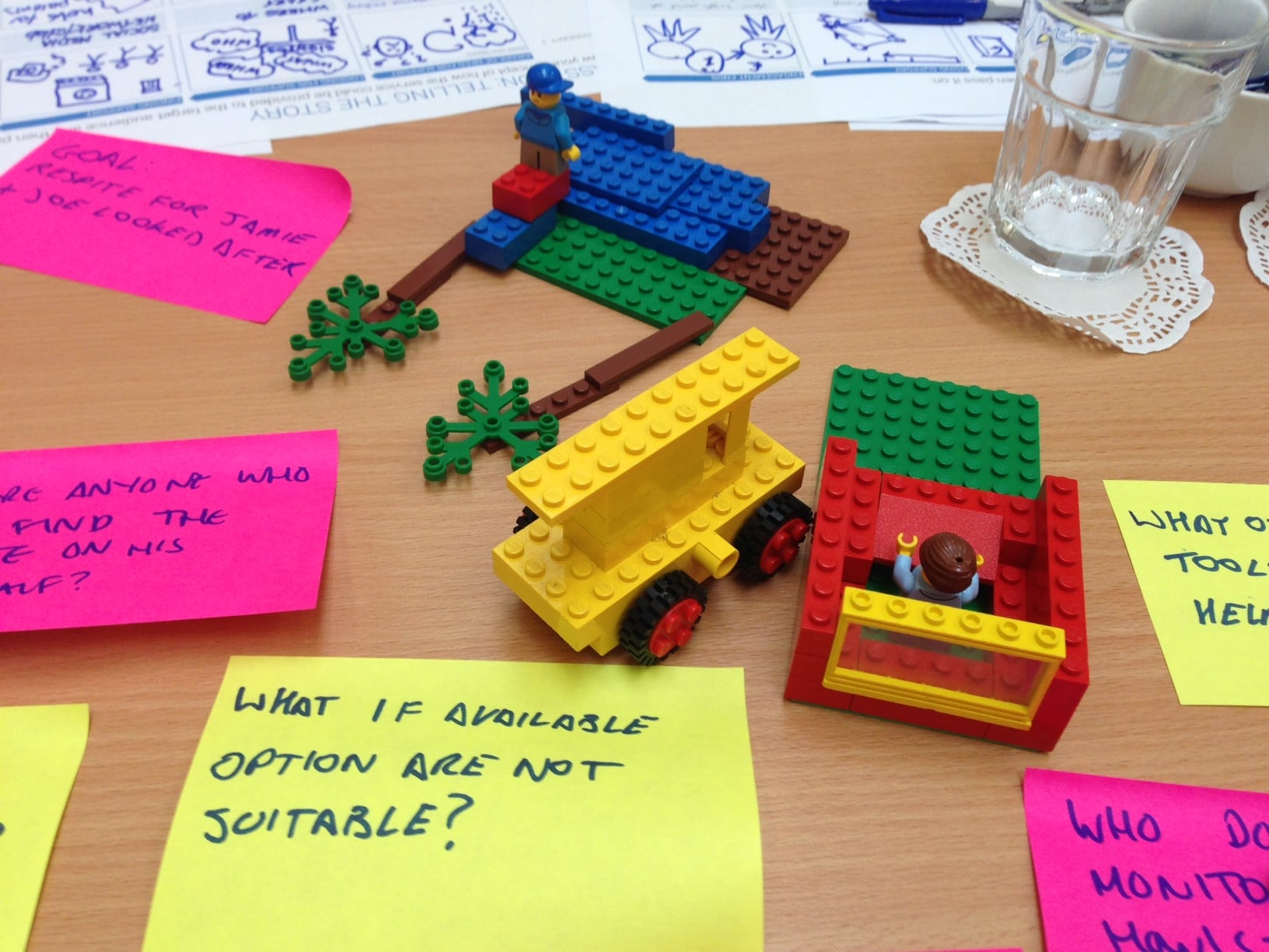 Post-it notes with questions written on them, and lego on a table