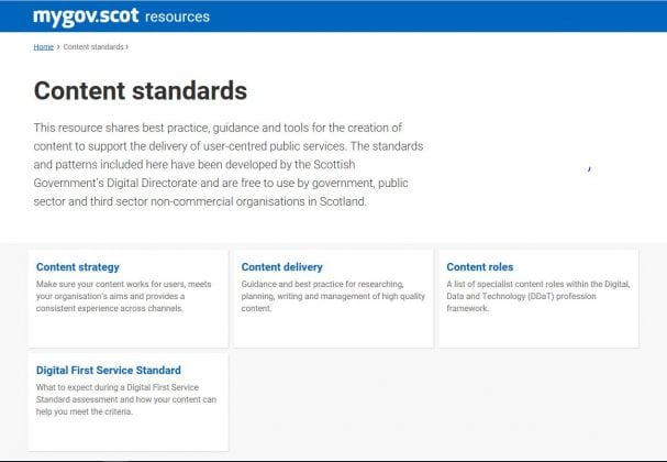 Screenshot of content standards which lists the following cateogries: content strategy, content delivery, content roles and digital first service standard.