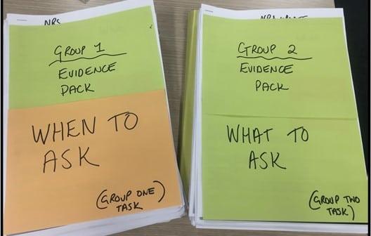 2 piles of papers with post-its on them. One saying 'What to ask' and the other 'When to ask.'