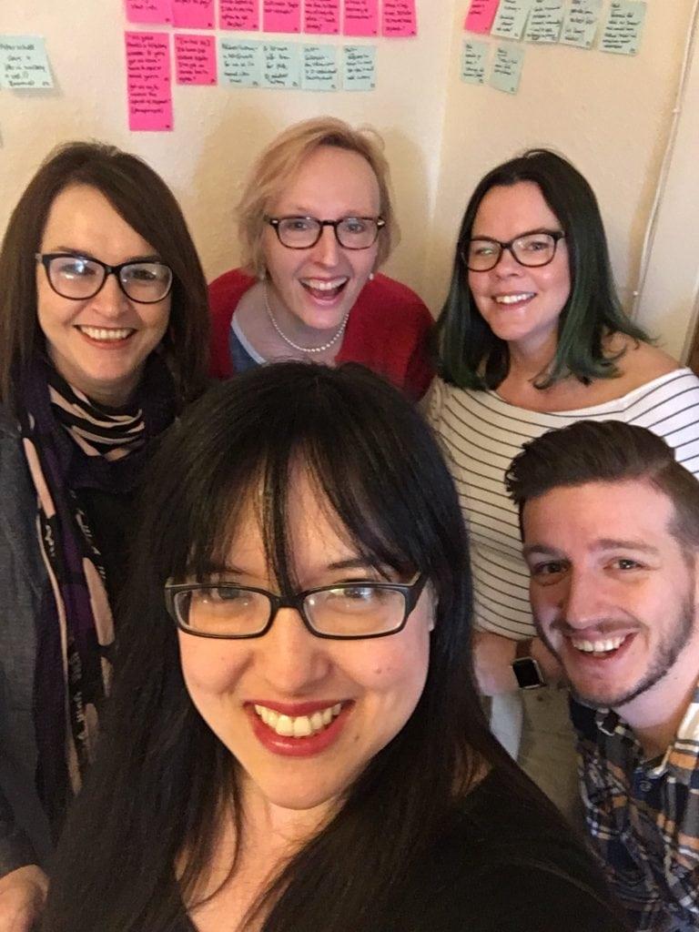 Group shot of: Jane Reid (Lead User Researcher), Frances Maxwell (Service Designer), Anne Walker (Senior Content Designer), Heather Fawbert (User Researcher) and Phil Murray (Subject Matter Expert).
