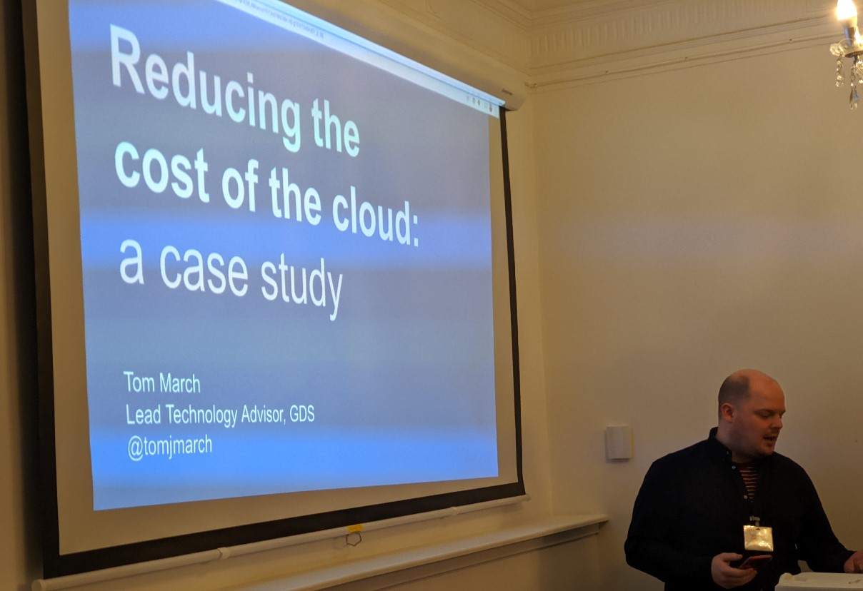 Tom March (GDS) presenting a Home Office case study on cloud cost reduction