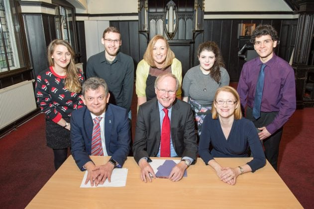 Shirley-Anne Somerville and Professor Peter Scott meet Anton Muscatelli and students of Glasgow University at the launch of the Fair Access Commissioner