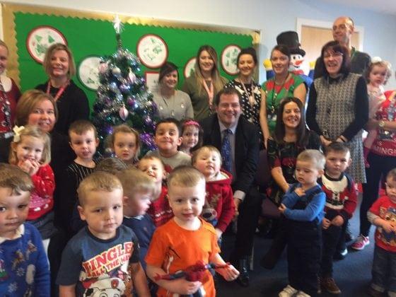 Mark McDonald meets children, parents and staff at Larkhall Nursery