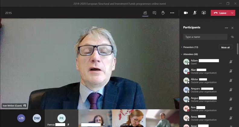 Ivan McKee speaking at ESIF online event