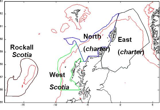 Figure 1: Map of the Northern Shelf of the North East Atlantic