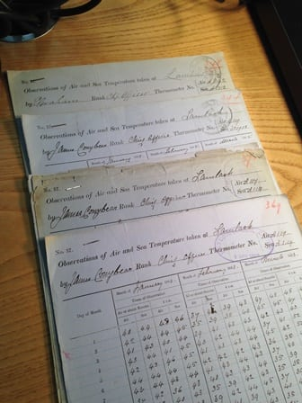 The oldest forms are hand written on delicate paper, the earliest records start in 1879
