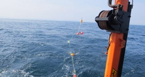subsea sound recorder during tow