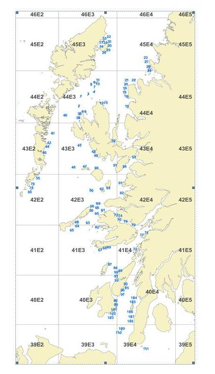 Figure 1 0517A Scallop Haul sites