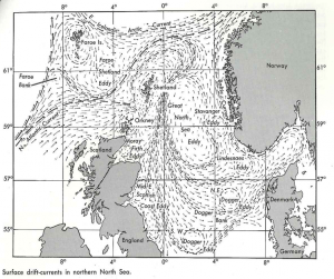Surface drift-currents in the North Sea, as published by JB Tait in 1973