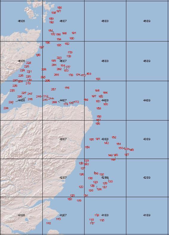 Scallop dredge haul sites