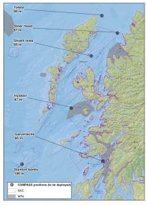 Positions of the moorings to be retrieved and deployed during the Alba na Mara trip 1917A