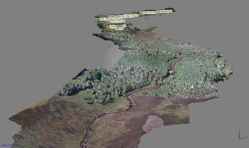 3D 'structure-from-motion' map of Girnock Burn showing forest cover