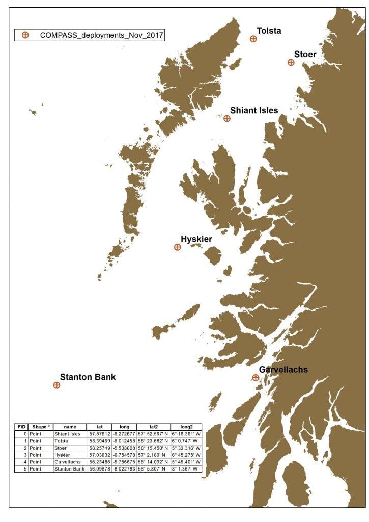 Figure 2 COMPASS mooring locations for underwater TV (UWTV) survey 0818S