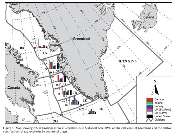 Fig 1: Map showing NAFO Divisions at West Greenland