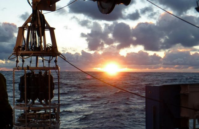 A CTD deployment at sunrise on Scotia