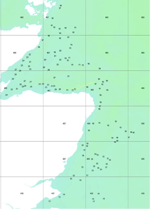 Survey station locations for scallop dredge survey 1019A
