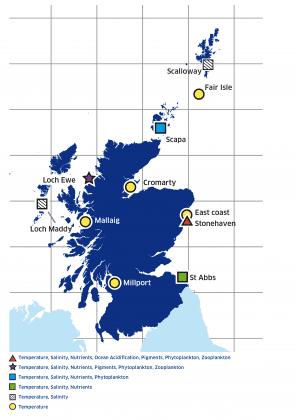 Map showing coastal monitoring stations