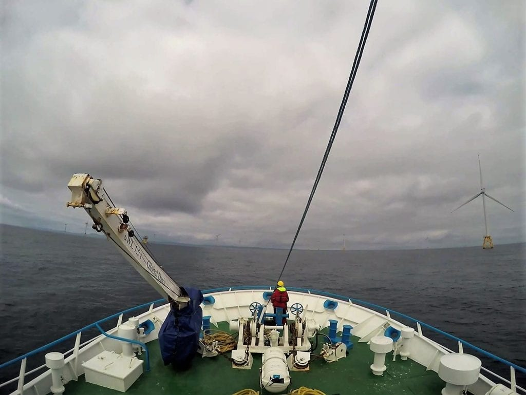 Figure 3: Visual seabird and marine mammal survey within BOWL wind farm. Photo credit: University of Aberdeen, 2019.