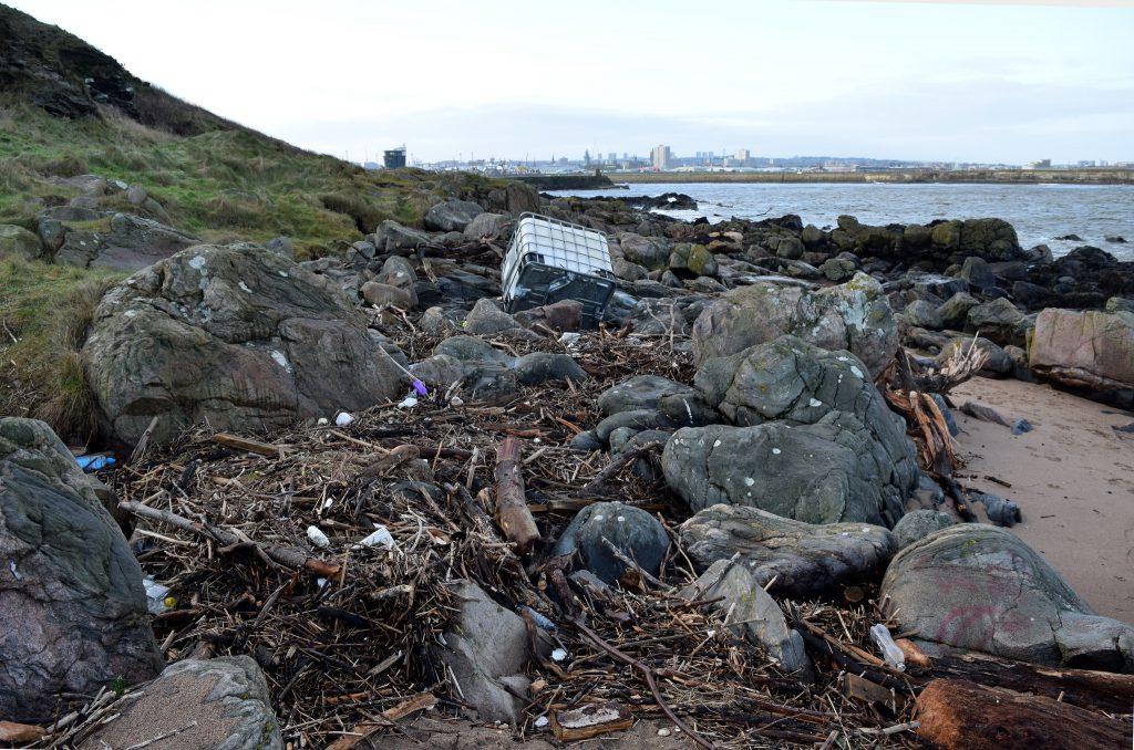 Marine litter on Aberdeen beach Crown copyright