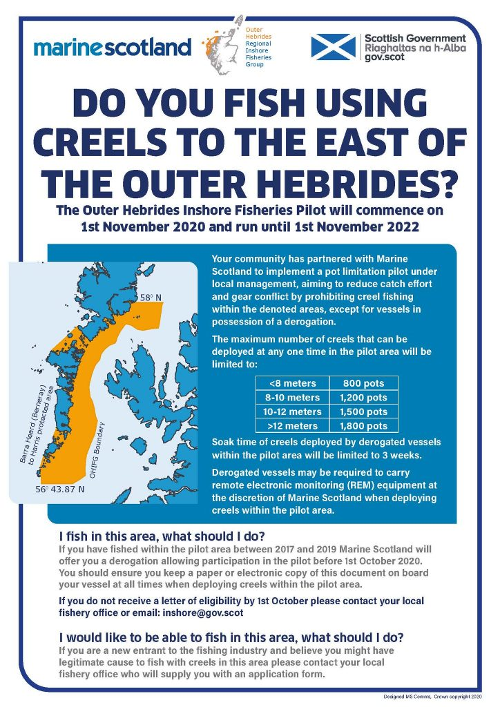 Poster showing map and details about the Outer Hebrides Inshore Fisheries Pilot area