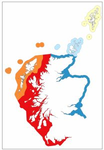 Map of Scotland highlighting the website areas in various colours