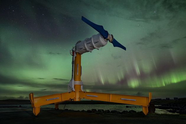 Fourth turbine in the Shetland Tidal Array, 'Eunice' with the Northern Lights in the background.tidal turbine. Copyright Nova Innovation