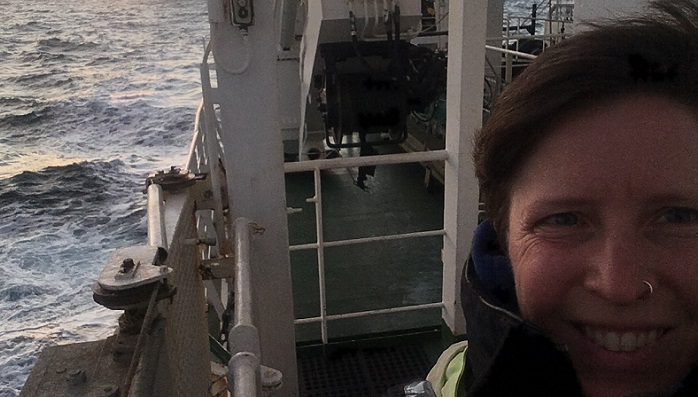 Dr Berit Rabe onboard Marine Scotland research vessel MRV Scotia