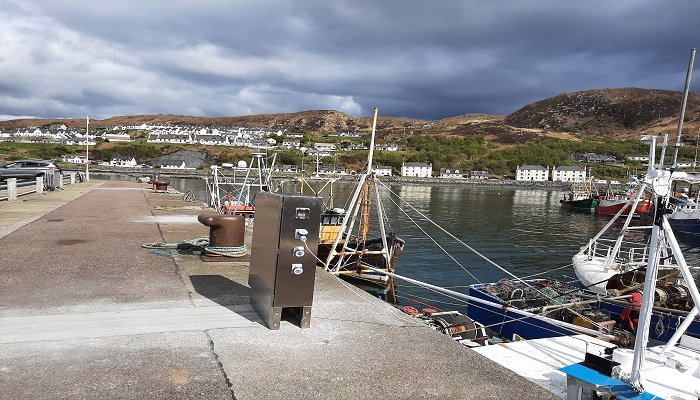 Mallaig Harbour with new shore power supplies