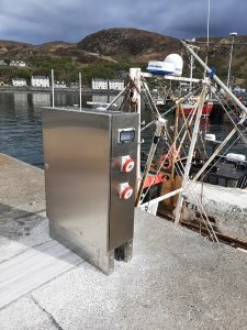 Image of shore power on Mallaig Harbour