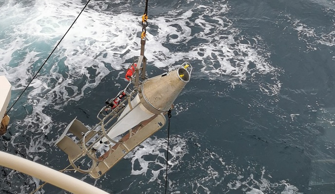 sampler being launched from the marine fishing vessel Altaire