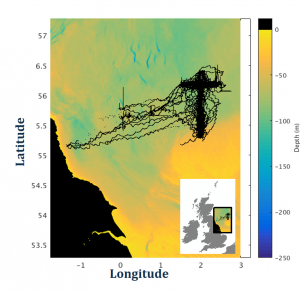 Map of the sea off the coast of Blyth plotting the track of the gliders