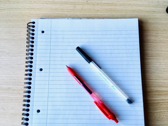 [image of paper and pens]