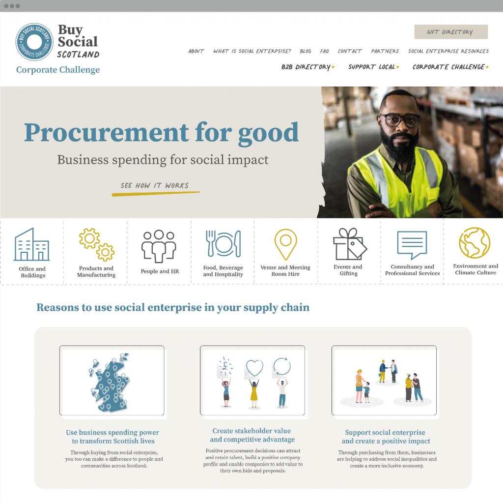 Screenshot of Procurement for Good website