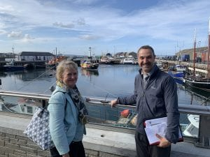 Roseanna Cunningham at Kirkwall Harbour flood defence scheme