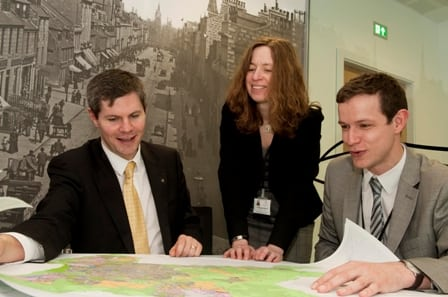 Planning Minister Derek Mackay with head of Planning and Sustainable Development, Dr Margaret Bochel, and Councillor Callum McCaig