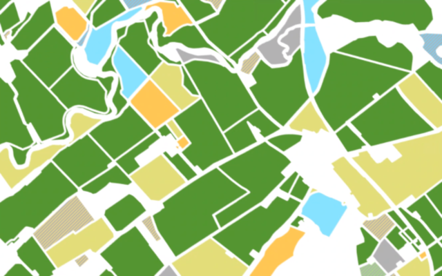 A mosaic picture of the fields produced by the data science crop map of an anonymous selected area colour coded by predicted crop type